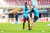 ALKMAAR - 19-10-2016, training persconferentie AZ, AFAS Stadion, AZ speler Fred Friday, AZ speler Robert Muhren