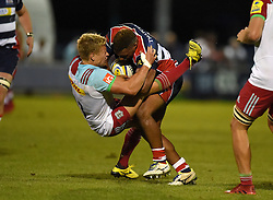 Jamal Ford-Robinson of Bristol United powers through Matt Hopper (c) of Harlequins A - Mandatory by-line: Joe Meredith/JMP - 12/09/2016 - RUGBY - Clifton RFC - Bristol, England - Bristol United v Harlequins A - Aviva A League