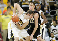 26 NOVEMBER 2007: Iowa center Seth Gorney (53) tries to keep the ball away from Wake Forest center Chas McFarland (13) in Wake Forest's 56-47 win over Iowa at Carver-Hawkeye Arena in Iowa City, Iowa on November 26, 2007.