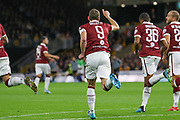 Andrea Belotti of Torino scores a goal and celebrates during the Europa League play off leg 2 of 2 match between Wolverhampton Wanderers and Torino at Molineux, Wolverhampton, England on 29 August 2019.