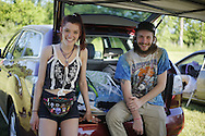 06212016 - Noblesville, Indiana, USA: Dead and Co. fans sit in the back of their car while selling items on Shakedown Street in the parking lot of Klipsch Music Center (Deer Creek) before members of the Grateful Dead perform as Dead and Company. The Grateful Dead's final show at  Deer Creek in July 1995 was marred by over a thousand fans crashing the gates leading to the next day's show being canceled. Grateful Dead guitarist Jerry Garcia died a few weeks later. (Jeremy Hogan/Polaris)