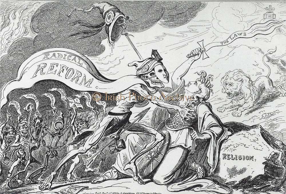Death or Liberty! ... Or Britannia & the Virtues of the Constitution in danger of Violation from the great Political Libertine. Britannia defending Law, Monarchy and Religion against Radical Reform, a skeleton carrying the Cap of Liberty, an emblem of the French Revolution. Cartoon by George Cruikshank published London 1819.
