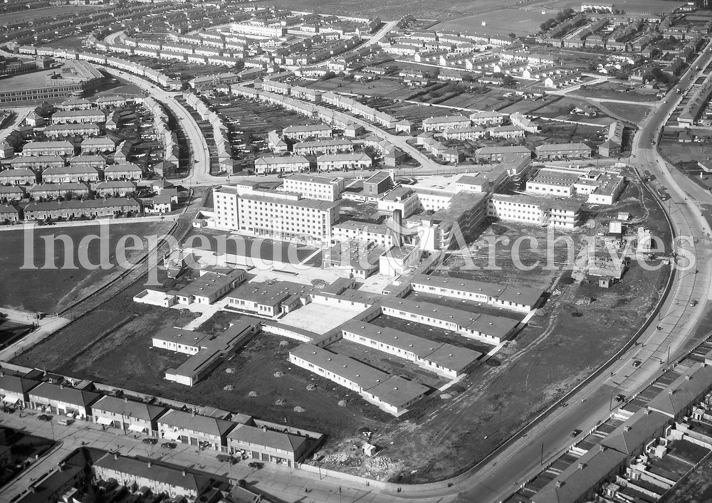 A342 Our Lady's Hospital, Crumlin.   23/03/56 (Part of the Independent Newspapers Ireland/NLI collection.)<br /> <br /> These aerial views of Ireland from the Morgan Collection were taken during the mid-1950's, comprising medium and low altitude black-and-white birds-eye views of places and events, many of which were commissioned by clients. From 1951 to 1958 a different aerial picture was published each Friday in the Irish Independent in a series called, 'Views from the Air'.