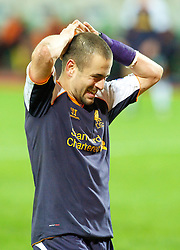 MOSCOW, RUSSIA - Thursday, November 8, 2012: Liverpool's Joe Cole looks dejected as he missed a chance against FC Anji Makhachkala during the UEFA Europa League Group A match at the Lokomotiv Stadium. (Pic by David Rawcliffe/Propaganda)