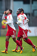 Onderwerp/Subject: FC Utrecht - Eredivisie<br /> Reklame:  <br /> Club/Team/Country: <br /> Seizoen/Season: 2012/2013<br /> FOTO/PHOTO: Anouar KALI (L) of FC Utrecht celebrating his goal with Nana ASARE ( Akwasi Nana ASARE ) (R) of FC Utrecht ( 1 - 0 ). (Photo by PICS UNITED)<br /> <br /> Trefwoorden/Keywords: <br /> #02 $94 ±1354626289759<br /> Photo- & Copyrights © PICS UNITED <br /> P.O. Box 7164 - 5605 BE  EINDHOVEN (THE NETHERLANDS) <br /> Phone +31 (0)40 296 28 00 <br /> Fax +31 (0) 40 248 47 43 <br /> http://www.pics-united.com <br /> e-mail : sales@pics-united.com (If you would like to raise any issues regarding any aspects of products / service of PICS UNITED) or <br /> e-mail : sales@pics-united.com   <br /> <br /> ATTENTIE: <br /> Publicatie ook bij aanbieding door derden is slechts toegestaan na verkregen toestemming van Pics United. <br /> VOLLEDIGE NAAMSVERMELDING IS VERPLICHT! (© PICS UNITED/Naam Fotograaf, zie veld 4 van de bestandsinfo 'credits') <br /> ATTENTION:  <br /> © Pics United. Reproduction/publication of this photo by any parties is only permitted after authorisation is sought and obtained from  PICS UNITED- THE NETHERLANDS
