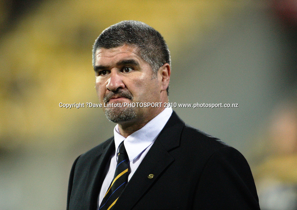 Hurricanes coach Colin Cooper.<br /> Super 14 rugby match - Hurricanes v Reds at Westpac Stadium, Wellington. Friday, 7 May 2010. Photo: Dave Lintott/PHOTOSPORT