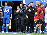 Football - 2018 / 2019 Premier League - Leicester City vs. Arsenal<br /> <br /> Arsenal Manager, Unai Emery complains to the referee as Ainsley Maitland - Niles is sent off by Referee, Michael Oliver, at King Power Stadium.<br /> <br /> COLORSPORT/ANDREW COWIE