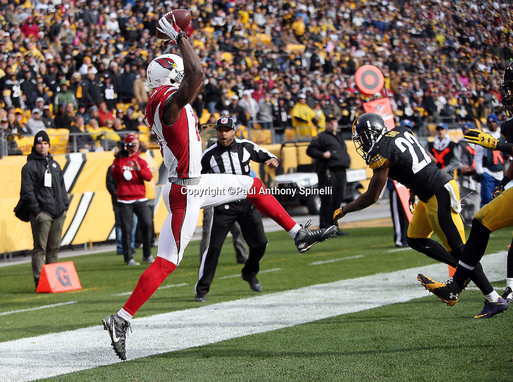 Field judge Adrian Hill (29) looks on as Pittsburgh Steelers cornerback William Gay (22) arrives late to the play when Arizona Cardinals wide receiver Jaron Brown (13) leaps and catches an end zone pass ruled out of bounds on a fourth down desperation play with the time clock ticking down near the end of the fourth quarter during the 2015 NFL week 6 regular season football game against the Arizona Cardinals on Sunday, Oct. 18, 2015 in Pittsburgh. The Steelers won the game 25-13. (©Paul Anthony Spinelli)