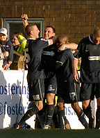 Photo: Ashley Pickering.<br />Southend United v Leicester City. Coca Cola Championship. 03/03/2007.<br />Alan McCormack of Southend (C) celebrates scoring the equaliser on his return