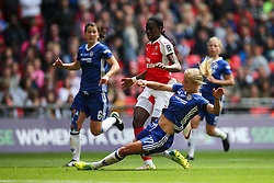Katie Chapman of Chelsea Ladies sliding tackle on Asisat Oshoala of Arsenal Ladies - Mandatory byline: Jason Brown/JMP - 14/05/2016 - FOOTBALL - Wembley Stadium - London, England - Arsenal Ladies v Chelsea Ladies - SSE Women's FA Cup