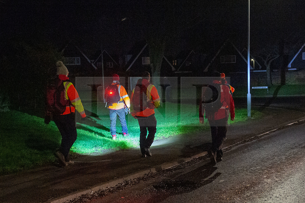 © Licensed to London News Pictures. 18/01/2020. Milton Keynes, UK. Search & Rescue volunteers searching the surrounding area after 6-year-old Aadil Umair Rahim went missing from the Newport Pagnell Services just off the M1 motorway at around 19:15 GMT. Photo credit: Peter Manning/LNP