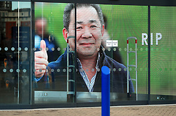 A view of an entrance showing a picture of Leicester Chairman, Vichai Srivaddhanaprabha, who was among those to have tragically lost their lives on Saturday evening when a helicopter carrying him and four other people crashed outside King Power Stadium.