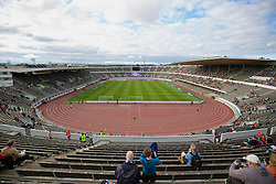 HELSINKI, FINLAND - Friday, July 31, 2015: Liverpool fans begin to arrive at the Olympic Stadium ahead of a friendly match against HJK Helsinki at the Olympic Stadium. (Pic by David Rawcliffe/Propaganda)