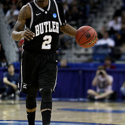 Mar 24, 2011; New Orleans, LA; Butler Bulldogs guard Shawn Vanzant (2) against the Wisconsin Badgers during the first half of the semifinals of the southeast regional of the 2011 NCAA men's basketball tournament at New Orleans Arena.  Mandatory Credit: Derick E. Hingle