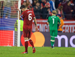 SEVILLE, SPAIN - Tuesday, November 21, 2017: Liverpool's Dejan Lovren looks dejected as his side throw away a three-goal half-time lead to draw 3-3 during the UEFA Champions League Group E match between Sevilla FC and Liverpool FC at the Estadio Ramón Sánchez Pizjuán. (Pic by David Rawcliffe/Propaganda)