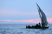 Dhows transporting people across Lake Malawi..Lake Malawi, Malawi, Southern Africa, Africa..© Demelza Cloke