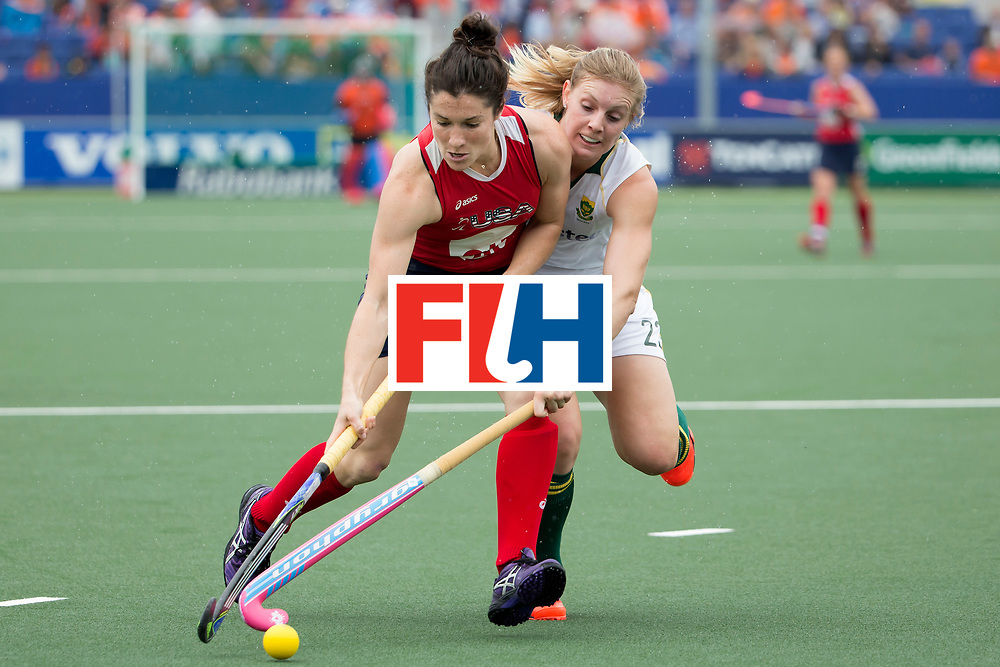 THE HAGUE - Rabobank Hockey World Cup 2014 - 10-06-2014 - WOMEN - USA - SOUTH AFRICA - Michelle Vittese (l) en Bernadette Coston.<br /> Copyright: Willem Vernes