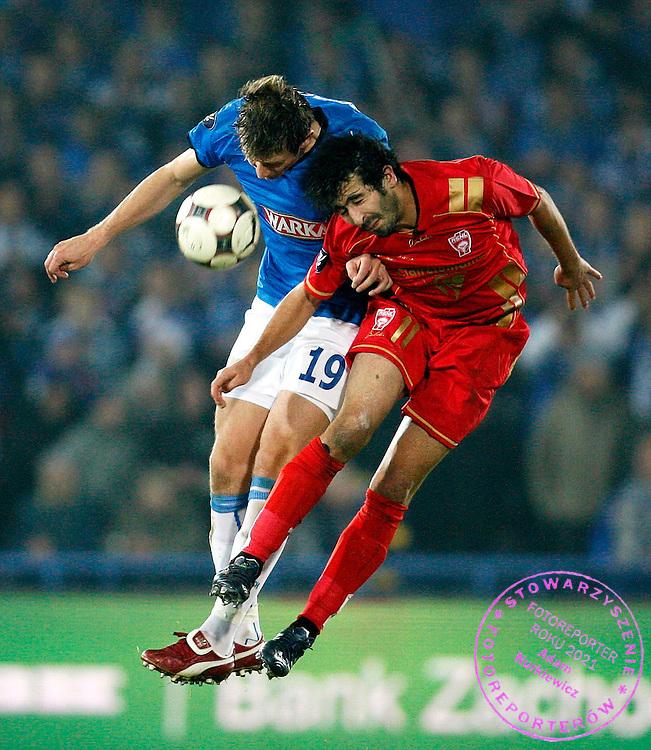 POZNAN 06/11/2008.UEFA CUP.LECH POZNAN v AS NANCY.MONSEF ZERKA OF AS NANCY AND BARTOSZ BOSACKI OF LECH POZNAN ..FOT. PIOTR HAWALEJ / WROFOTO