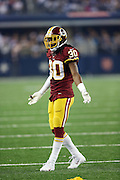 Washington Redskins cornerback E.J. Biggers (30) waves his arms during the NFL week 6 football game against the Dallas Cowboys on Sunday, Oct. 13, 2013 in Arlington, Texas. The Cowboys won the game 31-16. ©Paul Anthony Spinelli