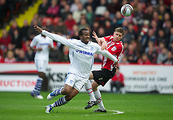 SHEFFIELD, ENGLAND - Saturday, March 17, 2012: Tranmere Rovers' Ian Goodison in action against Sheffield United's Chris Porter during the Football League One match at Bramall Lane. (Pic by David Rawcliffe/Propaganda)