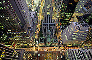 New York , elevated view on Madisson avenue, midtown and the roofs of saint patrick Cathedral. /  vue elevee sur  la cathedrale St Patrick , midtown, le  Rockfeller center , et Madison avenue .