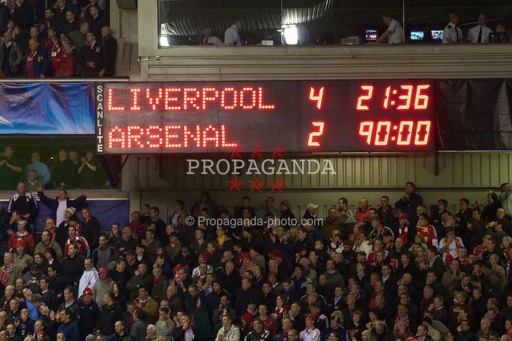 LIVERPOOL, ENGLAND - Tuesday, April 8, 2008: The Anfield scoreboard records Liverpool's 4-2 victory over Arsenal during the UEFA Champions League Quarter-Final 2nd Leg match at Anfield. (Photo by David Rawcliffe/Propaganda)