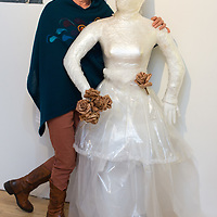 Wieslawa O'Brien with her art 'Wedding Dress' at the art Exhibition at the Courthouse Gallery Ennistymon