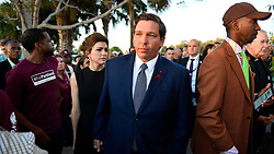 Florida Governor Ron DeSantis attends an interfaith service at Pine Trails Park in Parkland, FL, USA, to remember the 17 victims killed last year at Marjory Stoneman Douglas High School, on Thursday, February 14, 2019. Photo by Michael Laughlin/Sun Sentinel/TNS/ABACAPRESS.COM