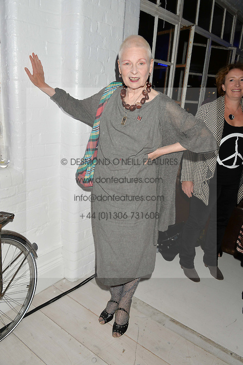 DAME VIVIENNE WESTWOOD at the OFFtheGRID event - a solar-powered party on a London rooftop to support our renewable energy future hosted by Dame Vivienne Westwood supported by the Trillion Fund at 151-155 New North Road, London N1 on 4th September 2014.