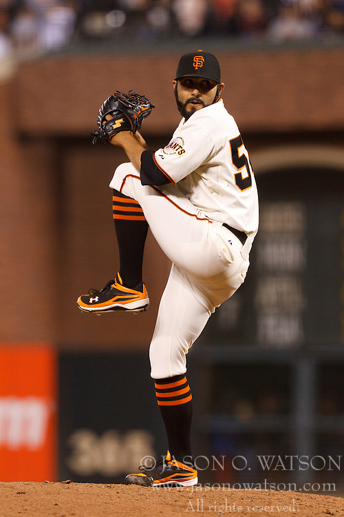 August 9, 2011; San Francisco, CA, USA;  San Francisco Giants relief pitcher Sergio Romo (54) pitches against the Pittsburgh Pirates during the eighth inning at AT&T Park. San Francisco defeated PIttsburgh 6-0.