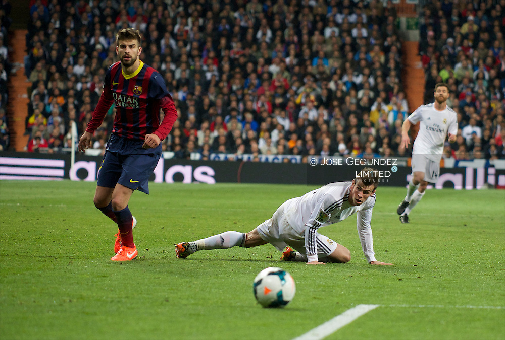 Gareth Bale in action during Real Madrid vs. F.C. Barcelona. La Liga football match, at Santiago  Bernabeu on March 23, 2014 in Madrid, Spain