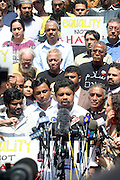 26 August 2010- New York, NY--Ahmed Sharief and other Taxi Drivers Demonstrate on the steps of City Hall to denounce violent hate crimes against Taxi Drivers in New York City. ..Taxi Cab Driver Ahmed Sharif was slashed and stabbed by a passenger who first asked if he were muslim, and then savagely stabbed him 5 times over  his face, throat and arms by 21year-old Michael Enright, a College Student at School of Visual Arts who had just returned from Afghanistan.