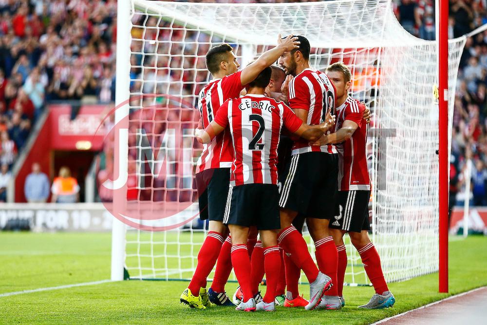 Southampton celebrate Graziano Pelle of Southampton goal, Southampton 1-0 Vitesse Arnhem - Mandatory by-line: Jason Brown/JMP - Mobile 07966386802 - 31/07/2015 - SPORT - FOOTBALL - Southampton, St Mary's Stadium - Southampton v Vitesse Arnhem - Europa League