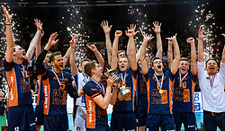 12-05-2019 NED: Abiant Lycurgus - Achterhoek Orion, Groningen<br /> Final Round 5 of 5 Eredivisie volleyball, Orion wins Dutch title after thriller against Lycurgus 3-2 / Orion celebrate, Pim Kamps #7 of Orion