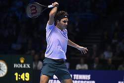 November 16, 2017 - London, England, United Kingdom - Roger Federer of Switzerland during his Singles match against Marin Cilic of Croatia during day five of the Nitto ATP World Tour Finals at O2 Arena on November 16, 2017 in London, England. (Credit Image: © Alberto Pezzali/NurPhoto via ZUMA Press)