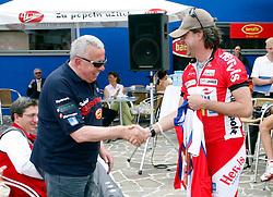 Zvone Zanoskar and Primoz Kalisnik at press conference of Cycling festival and Marathon Franja, on May 18, 2006, Atlantis, BTC, Ljubljana, Slovenia.  (Photo by Vid Ponikvar / Sportida)