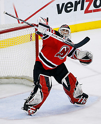 March 7, 2008; Newark, NJ, USA; New Jersey Devils goalie Martin Brodeur (30) makes a blocker save during the third period at the Prudential Center in Newark, NJ. The Devils defeated the Lightning in overtime 2-1 on a goal by New Jersey Devils left wing Patrik Elias (26).