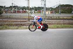 Shara Gillow (AUS) of FDJ Nouvelle Aquitaine Futuroscope Team digs deep during the prologue of the Ladies Tour of Norway - a 3.4 km time trial, starting and finishing in Halden on August 17, 2017, in Ostfold, Norway. (Photo by Balint Hamvas/Velofocus.com)