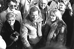 File photo dated 07/01/85 of (from the left) Fiona Fullerton, Roger Moore and Tanya Roberts at the re-opening of the world's largest film stage at Pinewood Studios, after it was destroyed by a fire. Sir Roger has died in Switzerland after a short battle with cancer, his family has announced.