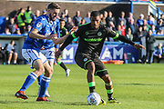 Forest Green Rovers Reuben Reid(26) passes the ball forward during the EFL Sky Bet League 2 match between Macclesfield Town and Forest Green Rovers at Moss Rose, Macclesfield, United Kingdom on 29 September 2018.