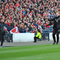 Neil Lennon celebrates after his score  in the match between Hibs v Aberdeen, William Hill Scottish Semi Final, Hampden, Saturday 22 April 2017  (c) Angie Isac | SportPix.org.uk