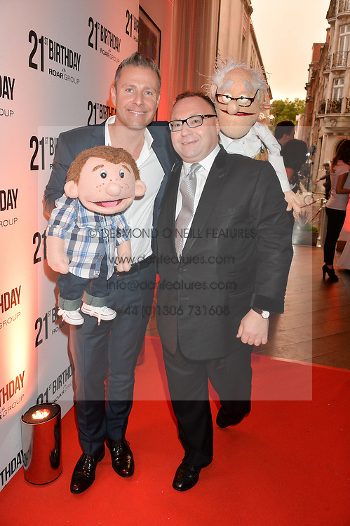 Left to right, PAUL ZERDIN America's Got Talent winner 2015 and JONATHAN SHALIT at a party to celebrate the 21st anniversary of The Roar Group hosted by Jonathan Shalit held at Avenue, 9 St.James's Street, London on 21st September 2015.