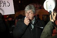 """05 JAN 2015, BERLIN/GERMANY:<br /> Dr. Karl Schmitt (M), vom Verein """"Patrioten"""", Anmelder der Bärgida-Demo """"Berliner Patrioten gegen die Islamisierung des Abendlandes"""", haelt mit Hilfe eines Megafons eine Rede, Baergida Demo, Spandauer Strasse<br /> IMAGE: 20150105-01-059<br /> KEYWORDS: Bärgida, Demonstranten, Protest, Demonstration,"""
