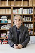 Kawagoe, Sitama prefecture, April 12 2014 - Portrait of Takao MATSUMURA, a former professor of Keio University, at he Chukiren Peace Memorial Museum.