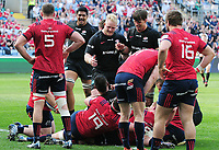 Rugby Union - 2018 / 2019 European Rugby Champions Cup - Semi-final - Saracens vs Munster<br /> <br /> Billy Vunipola of Saracens celebrates with team mates after bundling over for their 2nd try At Allianz Park.<br /> <br /> Colorsport  / Andrew Cowie