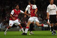 Photo: Tony Oudot.<br /> Arsenal v Sparta Prague. UEFA Champions League Qualifying. 29/08/2007.<br /> Tomas Rosicky of Arsenal celebrates his goal with Eduardo