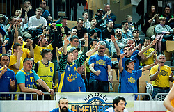 Supporters of Hopsi Polzela celebrate during basketball match between KK Sixt Primorska and KK Hopsi Polzela in final of Spar Cup 2018/19, on February 17, 2019 in Arena Bonifika, Koper / Capodistria, Slovenia. Photo by Vid Ponikvar / Sportida