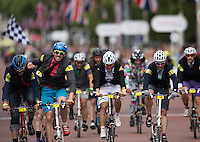 Competitors during the 10th Brompton World Championship Final, during Prudential RideLondon,  2015 Saturday 1st August, 2015. <br /> <br /> Prudential RideLondon is the world's greatest festival of cycling, involving 95,000+ cyclists – from Olympic champions to a free family fun ride - riding in five events over closed roads in London and Surrey over the weekend of 1st and 2nd August 2015. <br /> <br /> Photo: Jon Buckle for Prudential RideLondon<br /> <br /> See www.PrudentialRideLondon.co.uk for more.<br /> <br /> For further information: Penny Dain 07799 170433<br /> pennyd@ridelondon.co.uk