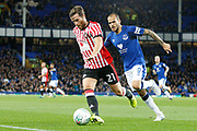 Sunderland defender Adam Matthews (21) and Everton striker Sandro Ramirez (9) during the EFL Cup match between Everton and Sunderland at Goodison Park, Liverpool, England on 19 September 2017. Photo by Craig Galloway.