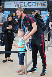 David De Gea is spotted at the Manchester Airport, UK as the Manchester United Football Club return from their USA Pre-Season tour on July 1, 2018.